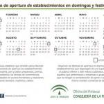 Calendario de apertura de establecimientos en domingos y festivos en Andalucia para 2014