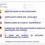Cartel de Hojas de reclamaciones de Cantabria