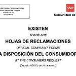 Cartel Hoja de Reclamaciones Comunidad de Madrid