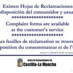 Cartel y Hoja de Reclamaciones de Castilla La Mancha