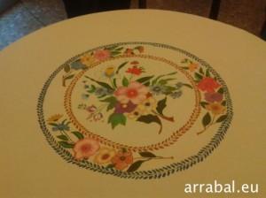 Mantel de mesa redonda pintado a mano