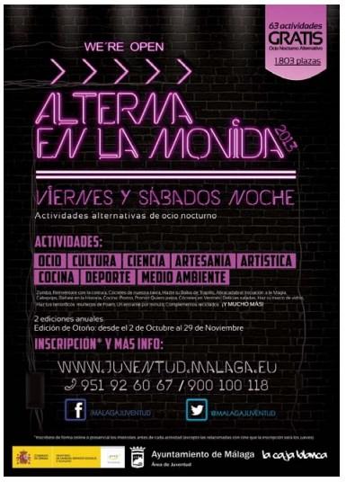 actividades y talleres gratuitos  en la segunda edición de Alterna en la Movida Málaga 2013