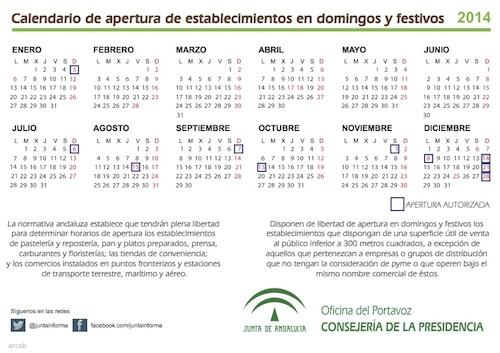 Calendario de apertura de establecimientos en domingos y festivos