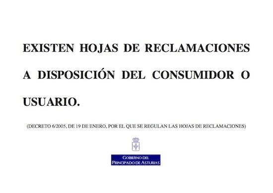 Cartel de Hojas de reclamaciones de Asturias