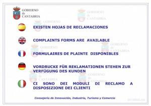 Cartel Exiten Hojas de reclamaciones de Cantabria