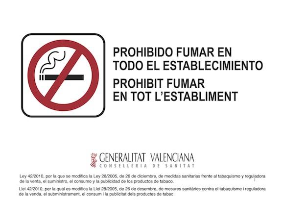 Cartel Prohibido fumar Comunidad Valenciana