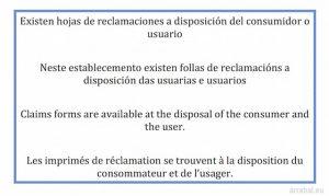 cartel de hojas de reclamaciones en Castellano, gallego, ingles y frances