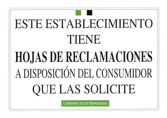 Cartel Hoja de Reclamaciones Junta de Extremadura
