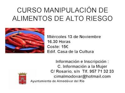 Curso de manipulador de alimentos en Almodóvar del Rey