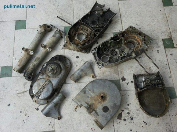 Piezas de Bultaco antes de Pulir