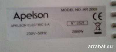 Placa de características de un radiador de aceite