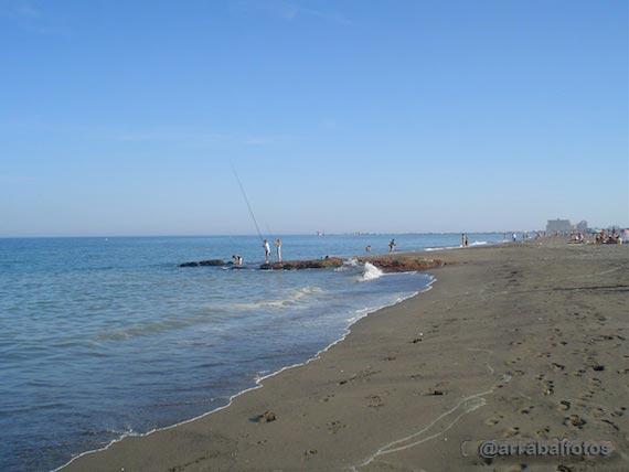 Vista de la Playa de la Misericordia en el Paseo Marítimo Antonio Banderas de Málaga