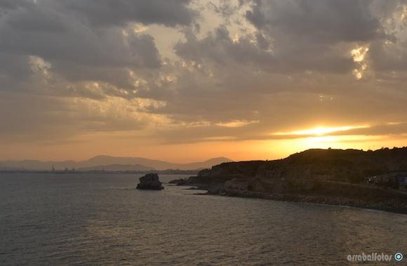 Puesta de Sol en Málaga visto desde la torre de Las Palomas