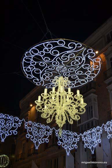 Lampara de Navidad en la calle Larios de Málaga