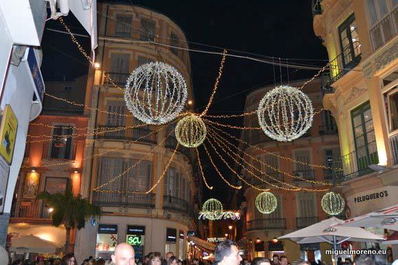 alumbrado de navidad en la plaza del Siglo de Málaga