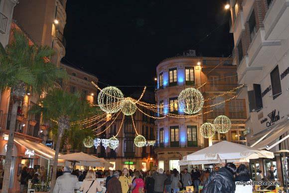 Alumbrado en la Plaza del Siglo de Málaga - Navidad 2013 2014
