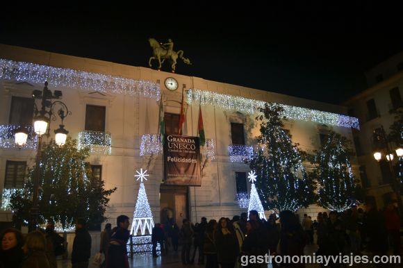 Alumbrado de Navidad en el Ayuntamiento de Granada