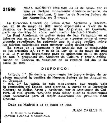 Real Decreto declarando BIC a la Iglesia de las Angustias