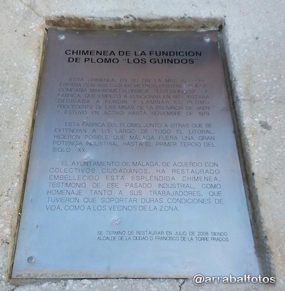"""Placa conmemorativa de la restauración de la Chimenea de la fundición de plomo de """"Los Guindos"""""""