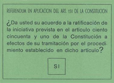 Papeleta del referendum del 28 de Febrero en Andalucía