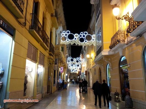Alumbrado de Navidad en la calle Echegaray de Málaga