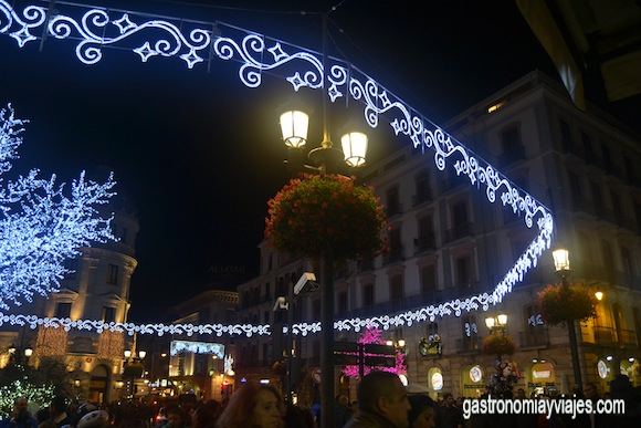Circle Christmas lights decorating the Royal Gate Granada