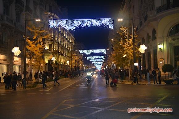 Alumbrado de Navidad 2015 en la Gran Vía de Colón de Granada